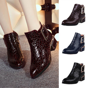 women boots autumn winter new sexy fashion patent-leather zip pointed toe ankle boot black blue red high-heeled Martin shoes