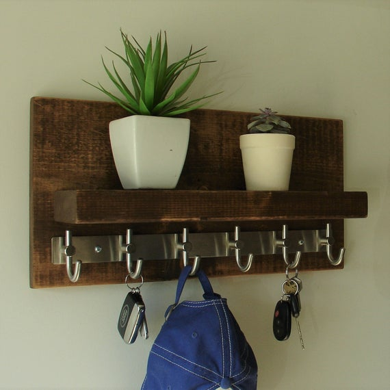 Modern Rustic Entryway Coat Rack Shelf with Brushed Nickel Rail Hooks by KeoDecor