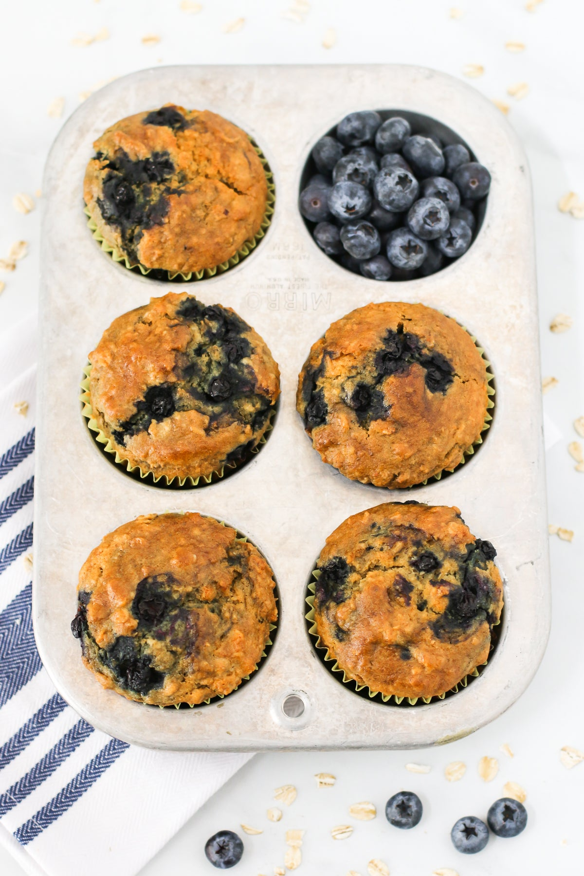 Hearty oatmeal muffins, bursting with sweet blueberries