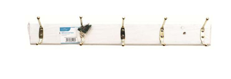 5 Hook Hat and Coat Rack White