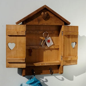Aged Pine Wall mounted Key box with 2 Coat Hooks