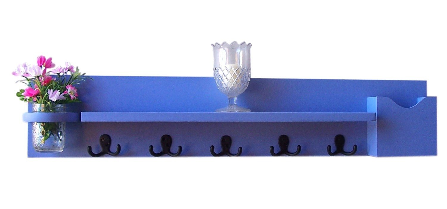 Coat Rack - Entry Way Shelf - Coat Hooks - Mail Holder