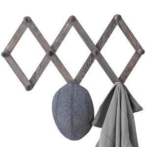 10-Hook Rustic Gray Wood Expandable Accordion Peg Coat Rack Hanger