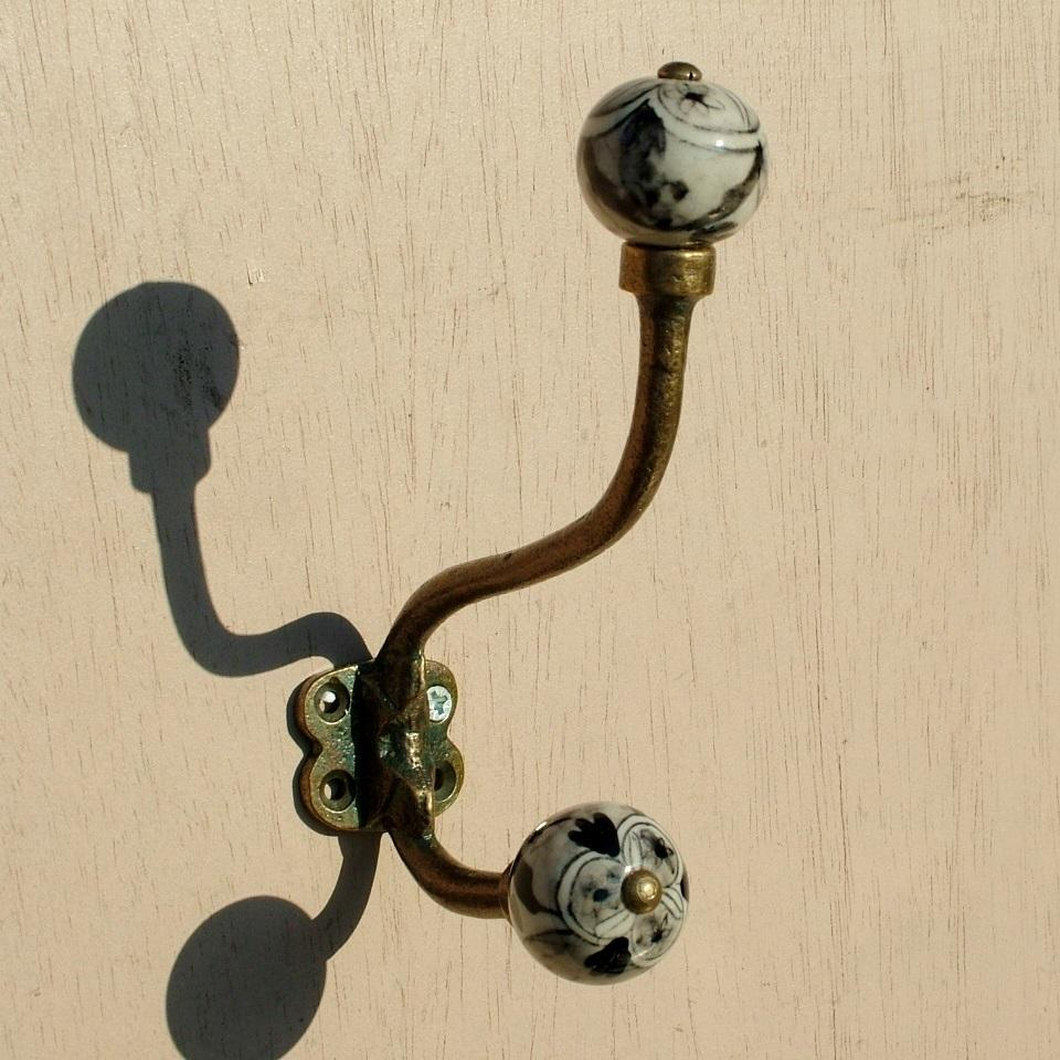 Antique brass effect Double Hook with Ceramic knobs - Black