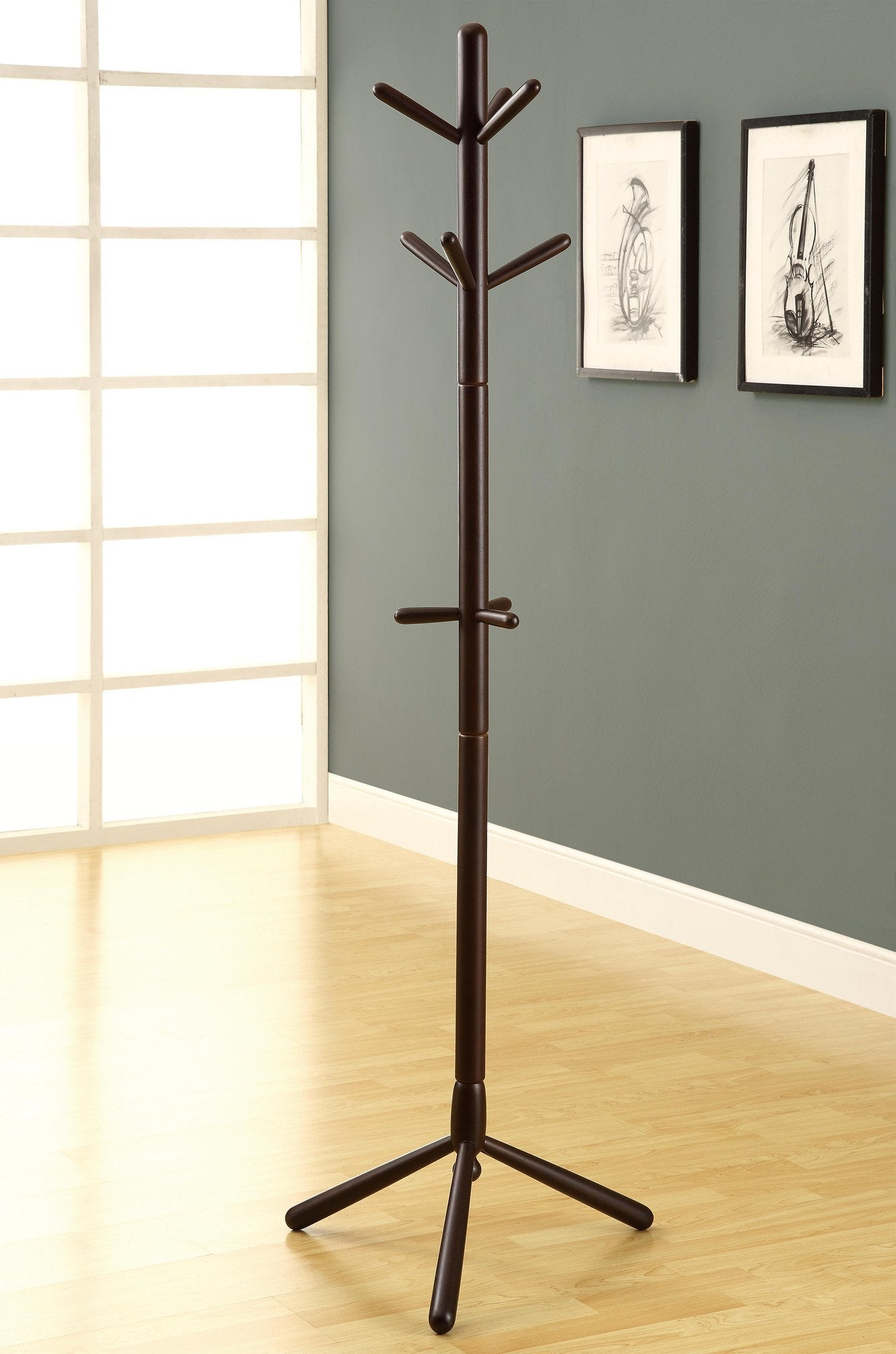 Cappuccino Contemporary Solid Wood Coat Rack