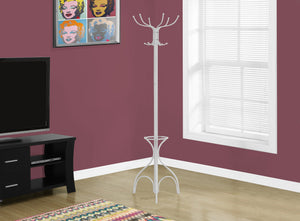 "70""H WHITE METAL WITH AN UMBRELLA HOLDER COAT RACK"