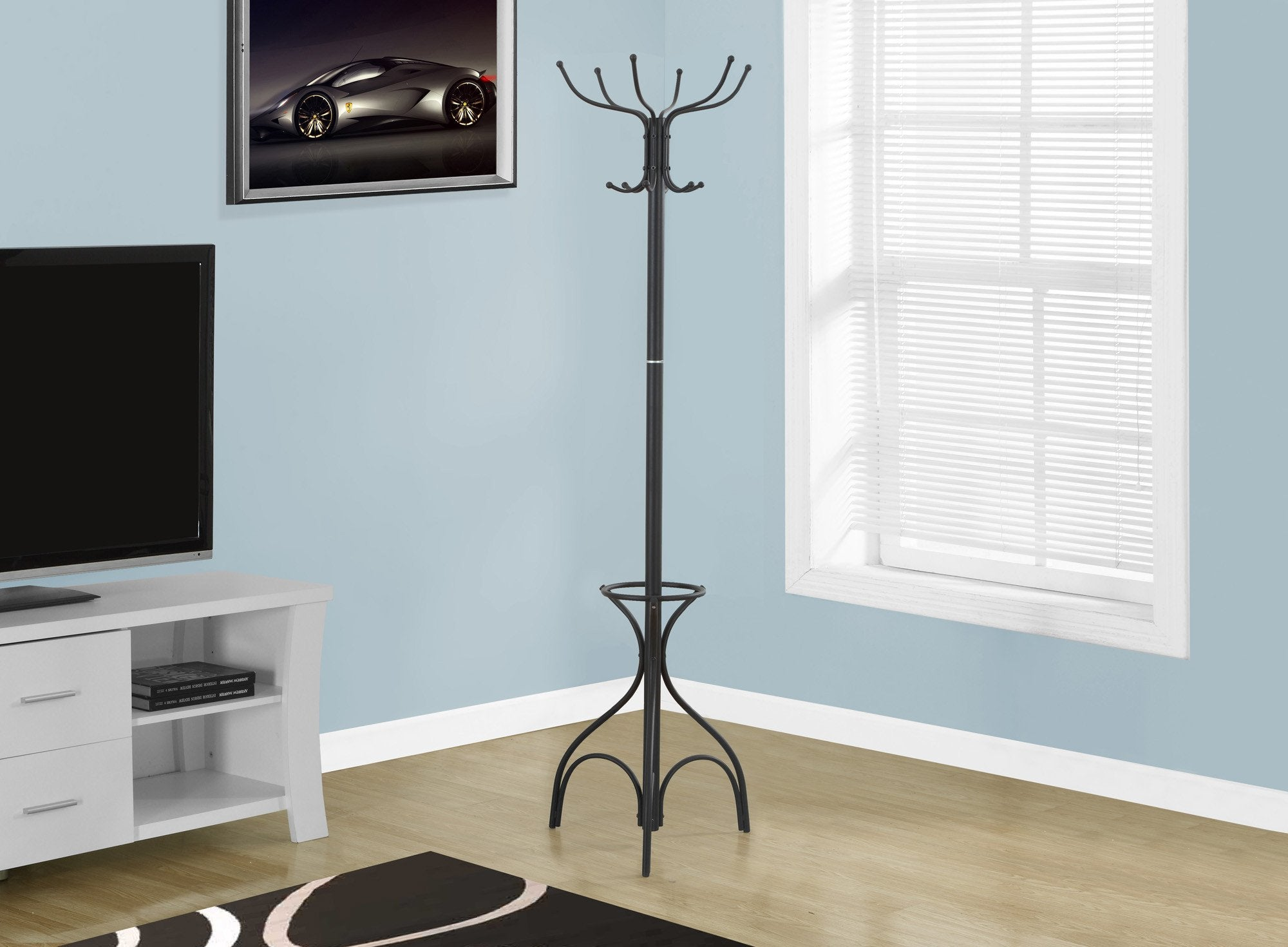 "70""H BLACK METAL WITH AN UMBRELLA HOLDER COAT RACK"