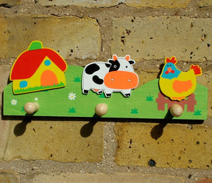 Children's Farm Yard Coat Rack with three wood peg hooks