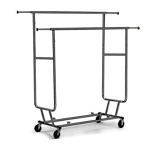 Cu AlightUp Double Rail Rolling Garment Rack with Adjustable Extensible Rails Heavy Duty Collapsible Clothing Hanging Coat Rack Commercial Grade Clothes Drying Rack Dress Shirt Storage Stand, Black