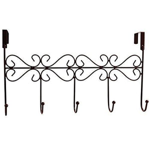 obmwang Over The Door 5 Hook Rack - Decorative Organizer Hooks for Clothes, Coat, Hat, Belt, Towels - Stylish Over Door Hanger for Home or Office Use L x W x H, 15 x 2 x 9 Inch