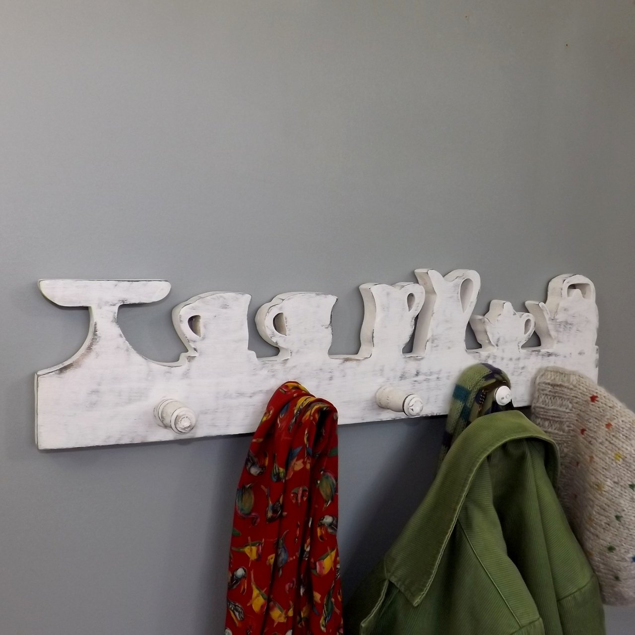 """Afternoon Tea"" Five Hook Coat Rack"