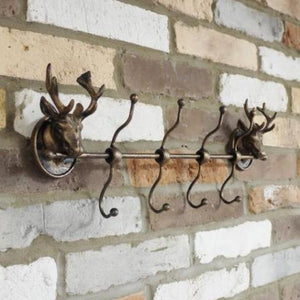 Rustic Bronze Metal Stag Heads Coat Hook Rack