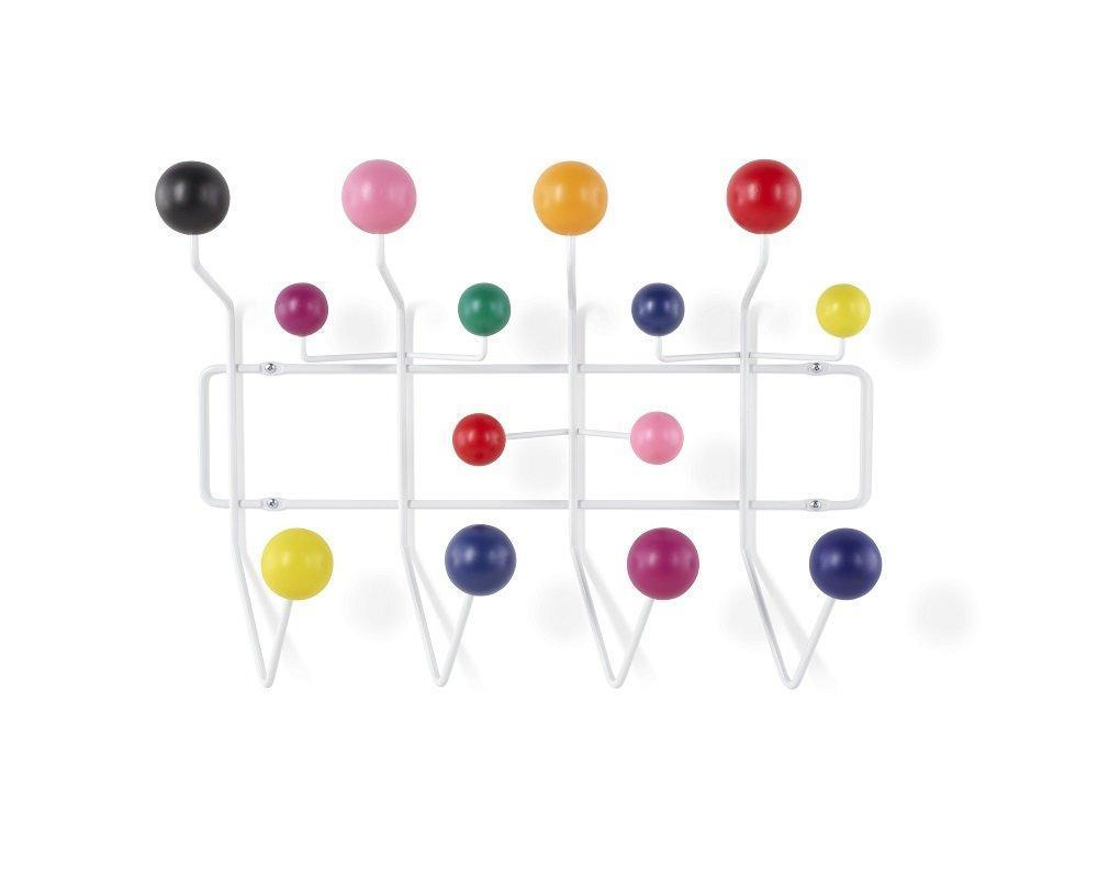 MLF Modern Hang it All, Coat Hook Wall Mounted Coat Rack with Painted Solid Wooden Balls in Multi Colors - White Metal Frame(Multi Color)