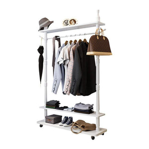 Angel's home Standing Coat Racks Wooden Free To Move White Hall Trees Coat Rack Stand Shoe Rack Hooks Clothes Stand Tree Stylish Wooden Hat Coat Rail Stand Rack Clothes Jacket Storage Hanger Organiser