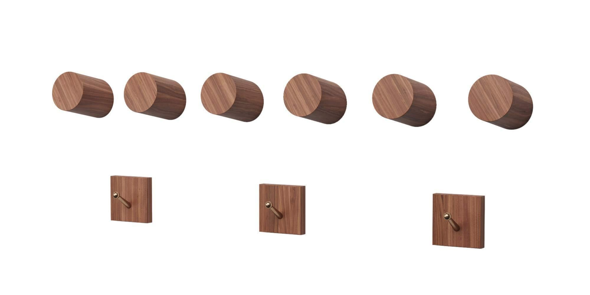 Black Walnut Wooden Wall Mounted Coat Hooks - 6 Pack, Bonus of 3 Key Hooks, Towel or Hat Rack, Keychain Hooks, Hooks for Hanging Hats, Caps, Headphones, Jackets, Purses, a Kitchen & Wall Organizer