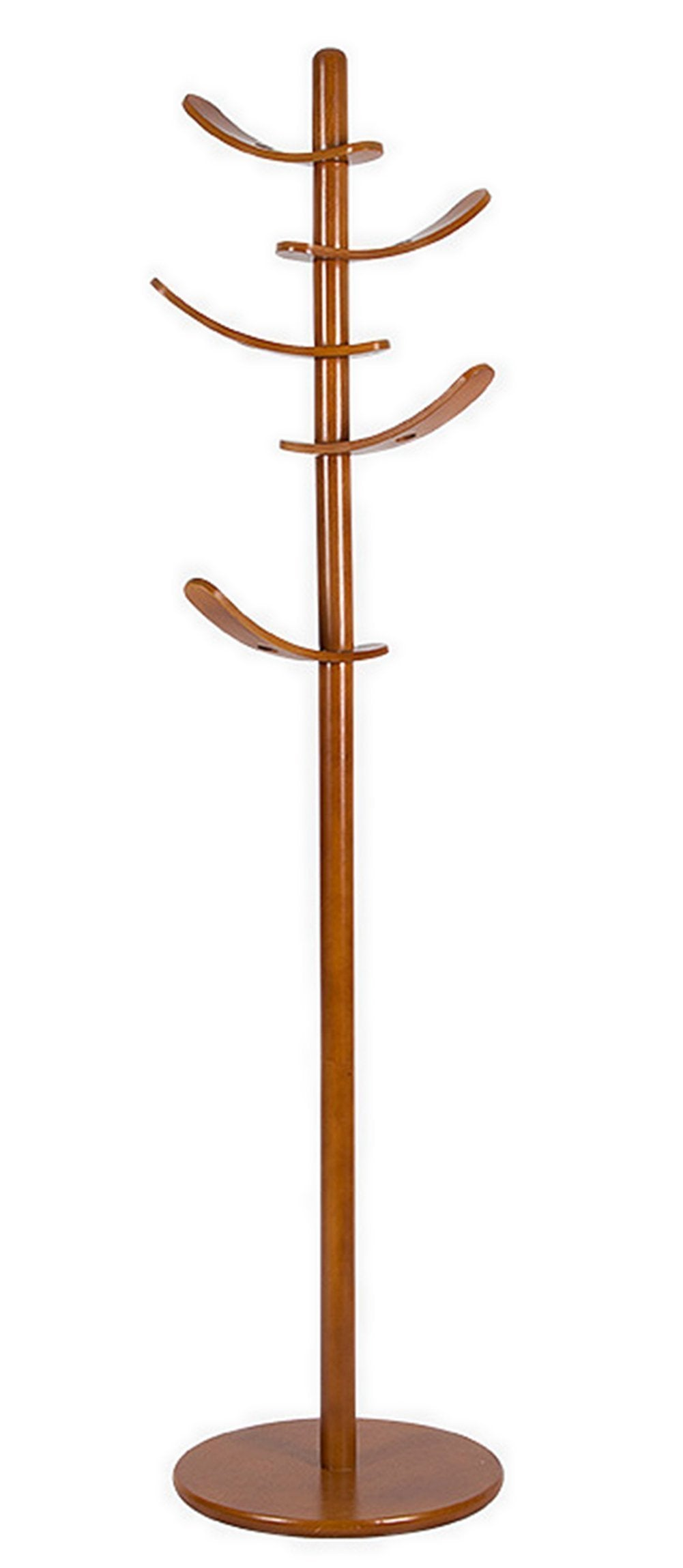 Yaker's collection Sturdy Free Standing Coat Rack with 6 Sail Rotated Hooks,Round Base Rubber Wood Hall Tree for Kids (Walnut)