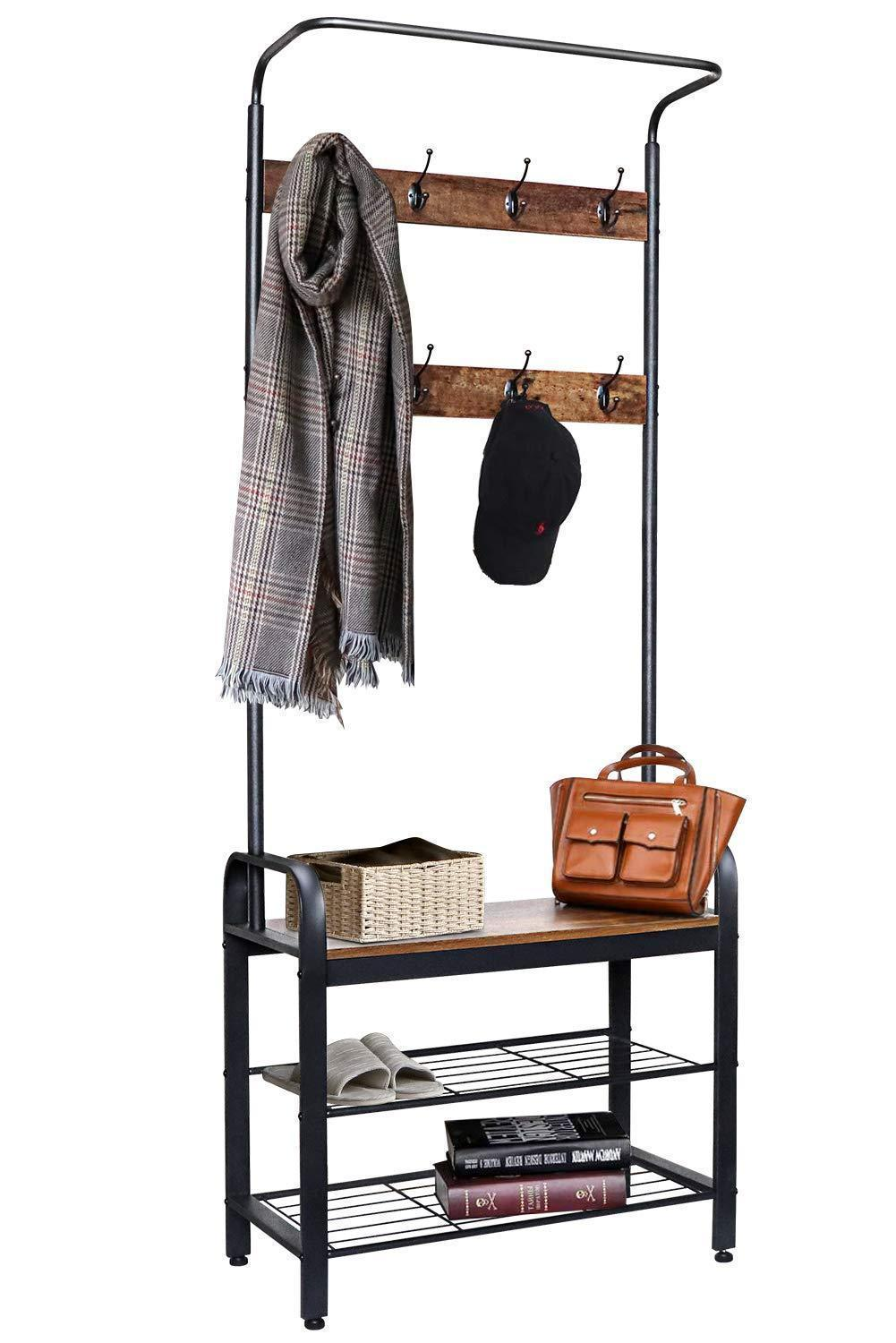 ZNCMRR Entryway Hall Tree with Shoe Bench, Rustic Coat Rack Industrial Entryway Furniture Organizer with 8 Double Hooks and Storage Shelf for Hallway, Bedroom, Living Room, Easy Assembly