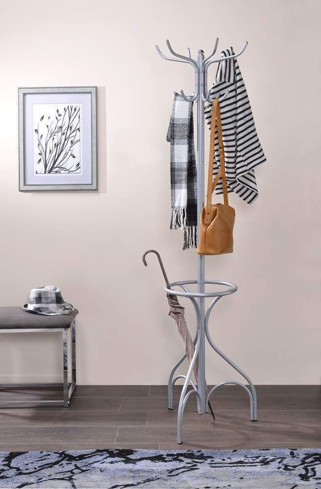 Benzara BM184785 Freestanding Coat Rack with Tri-Pod Base, Silver
