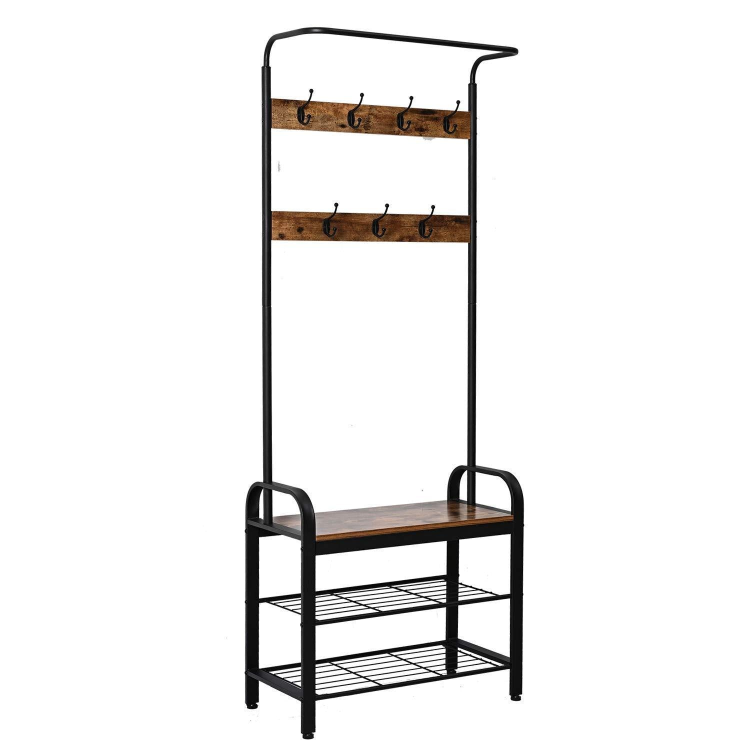 IRONCK Coat Rack Free Standing Hall Tree, Entryway Bench, Entryway Organizer, Vintage Industrial Coat Stand, 3 in 1 Design Wood Look Accent Furniture with Stable Metal Frame Easy Assembly
