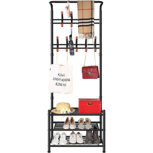 TomCare Coat Rack with 3-Tier Shoe Rack Hall Tree Entryway Bench Organizer 18 Hooks Coat Hanger Hat Racks Heavy Duty with Shoe Storage Shelves Metal Black for Doorway Hallway