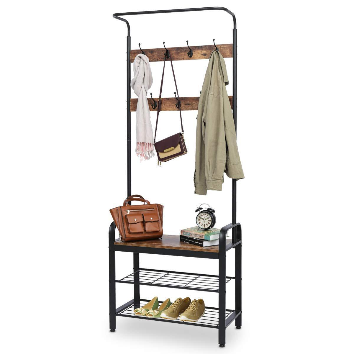 KINGSO Industrial Coat Rack, Hall Tree Entryway Coat Shoe Rack 3-Tier Shoe Bench 7 Hooks, Wood Look Accent Furniture with Stable Metal Frame Easy Assembly