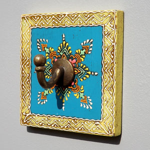 Colourful Hand painted square plaque Coat Hook, Blue Centre