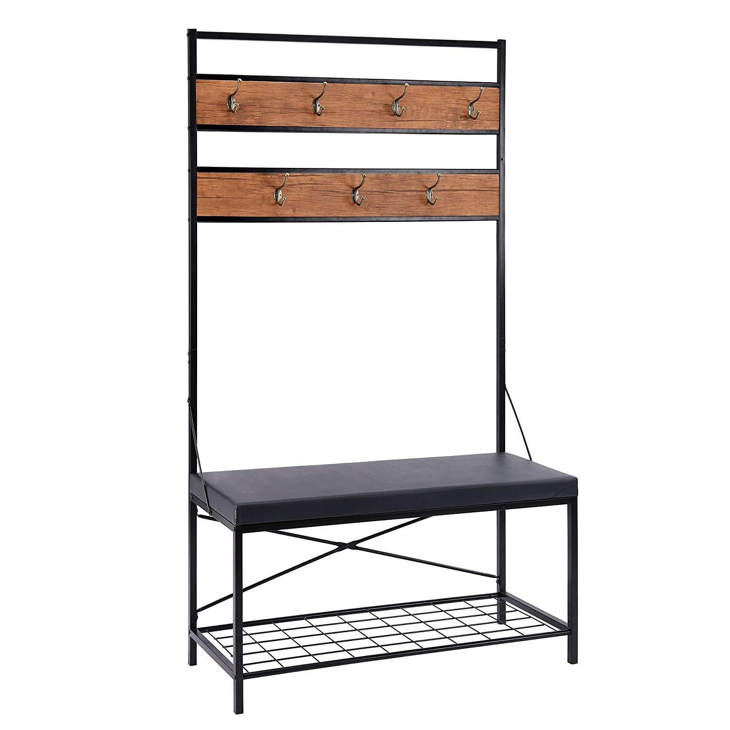 FIVEGIVEN Hall Tree Coat Rack Bench for Entryway Rustic in Black/Brown with 5 Hooks and Top Storage/Display Shelf