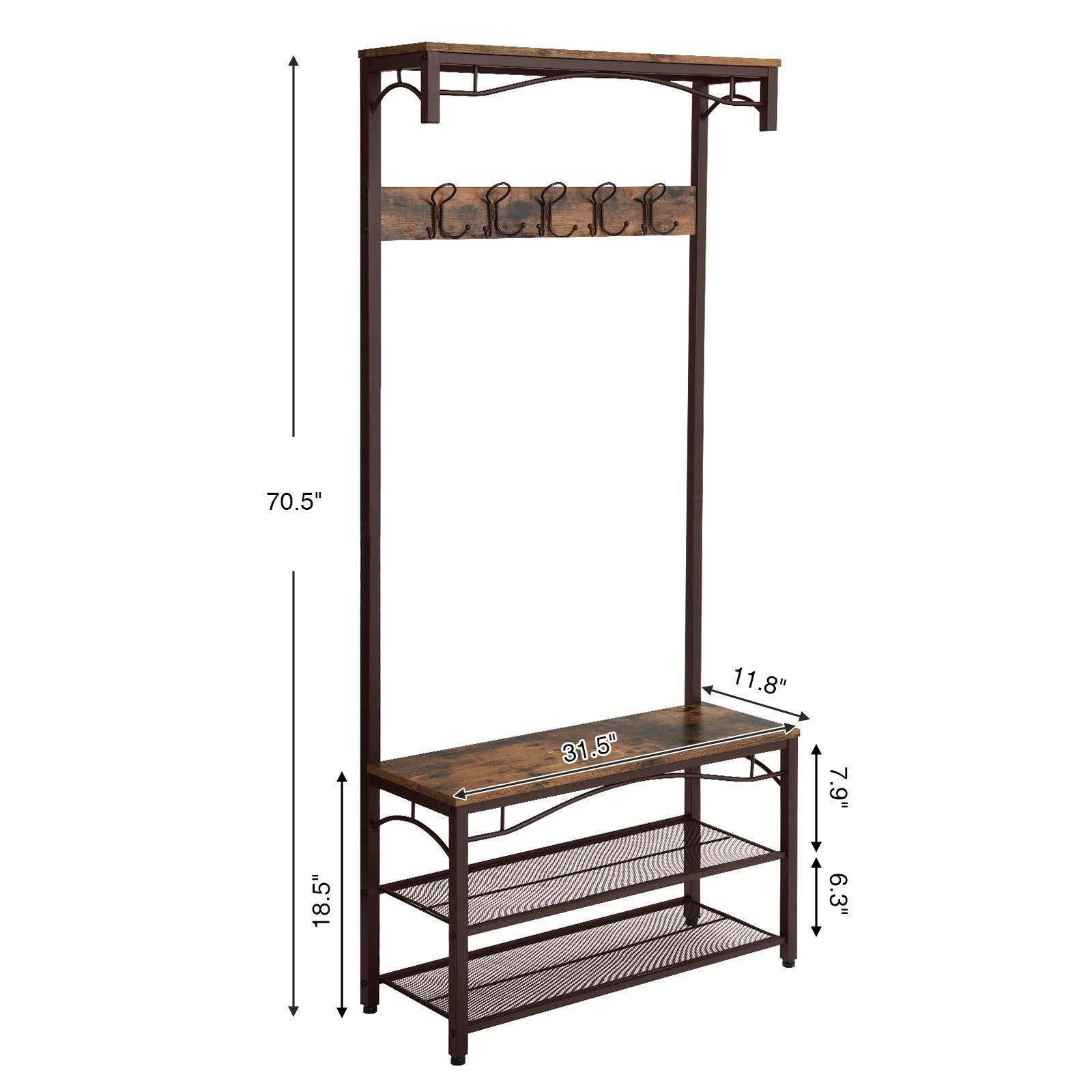SONGMICS Vintage Coat Rack, 3-in-1 Hall Tree, Entryway Shoe Bench Coat Stand, Storage Shelves Accent Furniture Metal Frame Large Size UHSR45AX