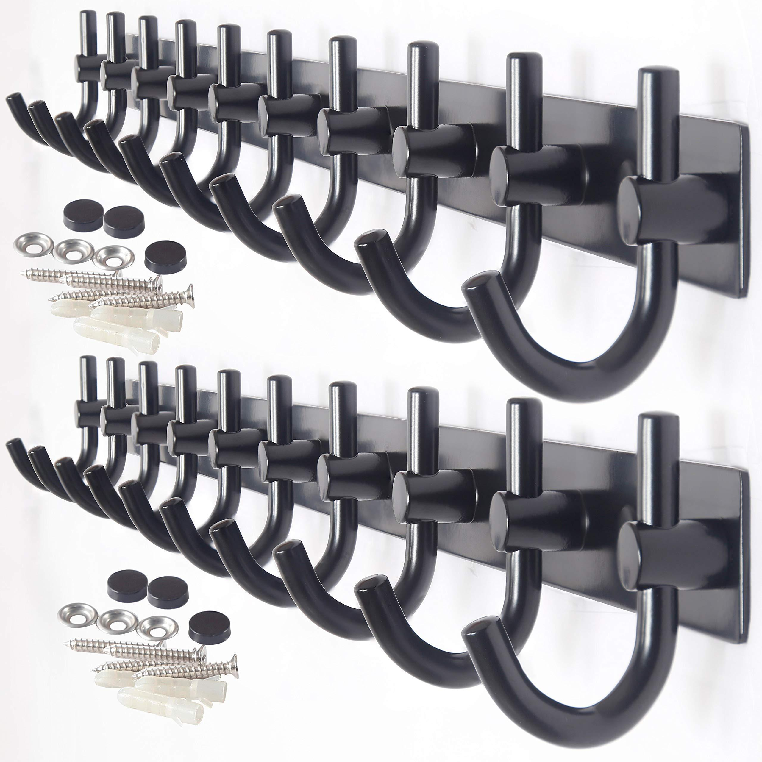 WEBI Wall Mounted Coat Rack - 30-Inch 10 Hooks Rack Rail, Heavy Duty Coat Hat Hook for Bathroom Entryway Closet Foyer Hallway,Black,2 Packs