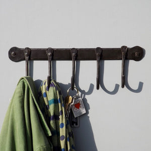 Traditional Wrought Iron five hook Coat Rack