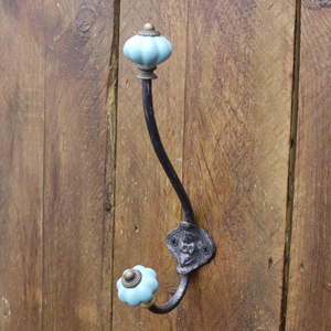 Traditional Dual Prong Metal Coat Hook in Six Colours
