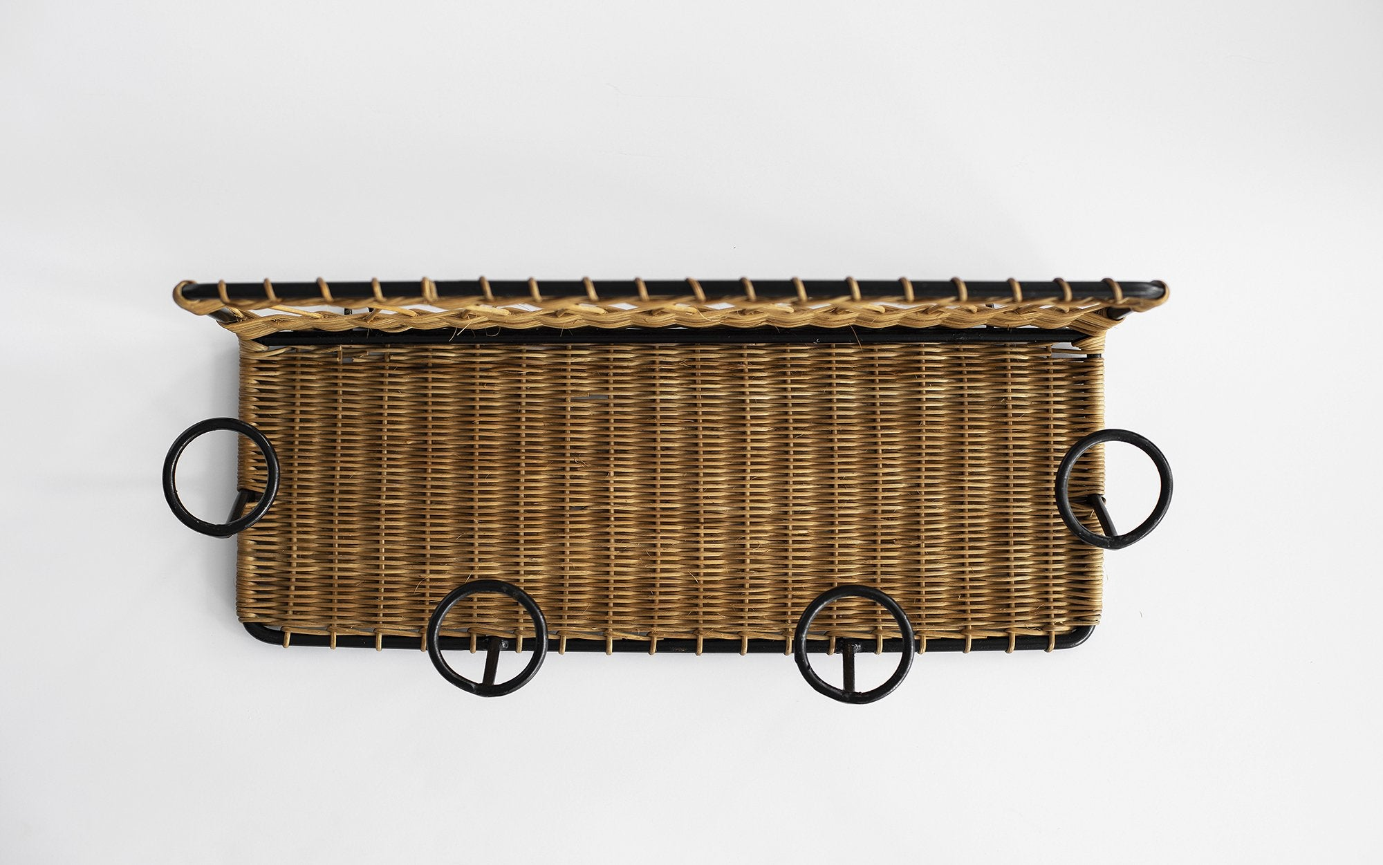 French Wicker Coat Rack Attributed to Jacques Adnet