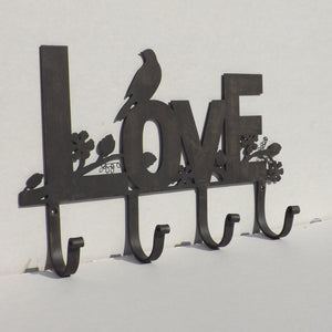 Black silhouette LOVE ornate Coat Rack