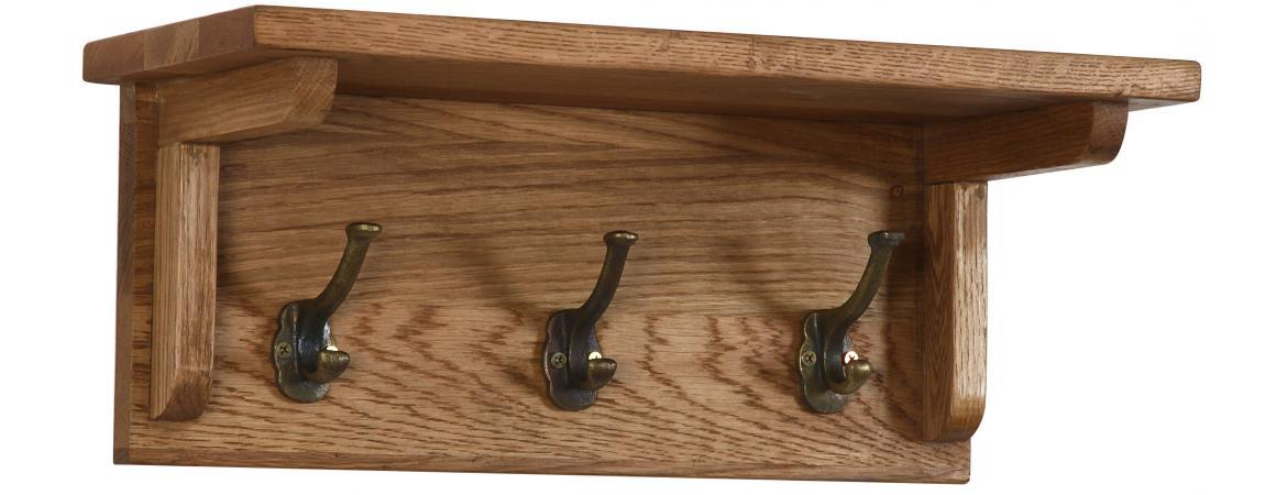 OAK 3 Hook Hall Coat Rack