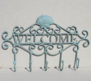 Seaside Blue WELCOME Coat Rack