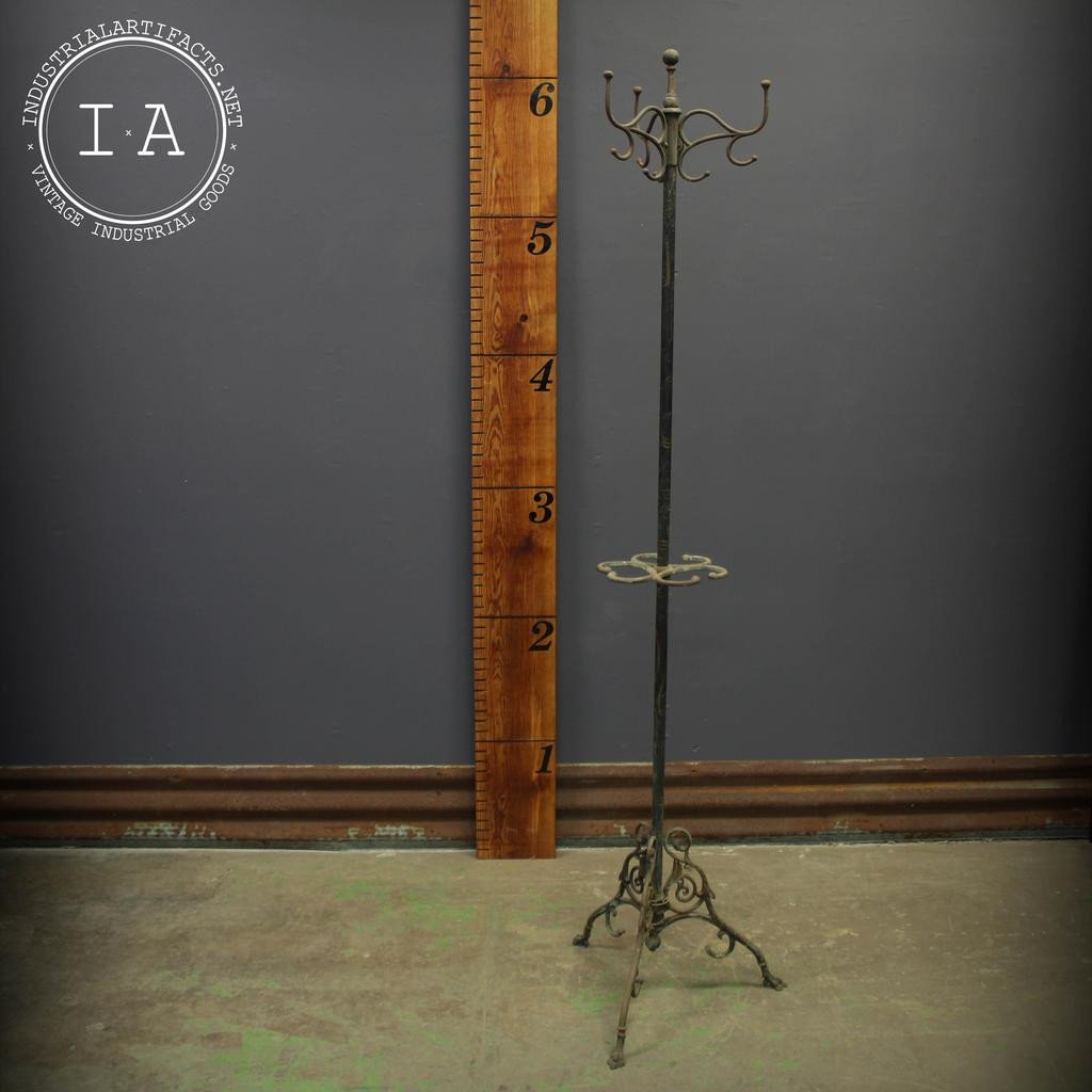 Art Nouveau Oxidized Copper Japanned Finish Cast Iron Coat and Hat Rack Hall Tree