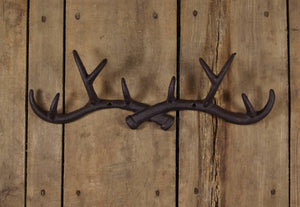 Cast Iron Crossed Antlers Coat Rack