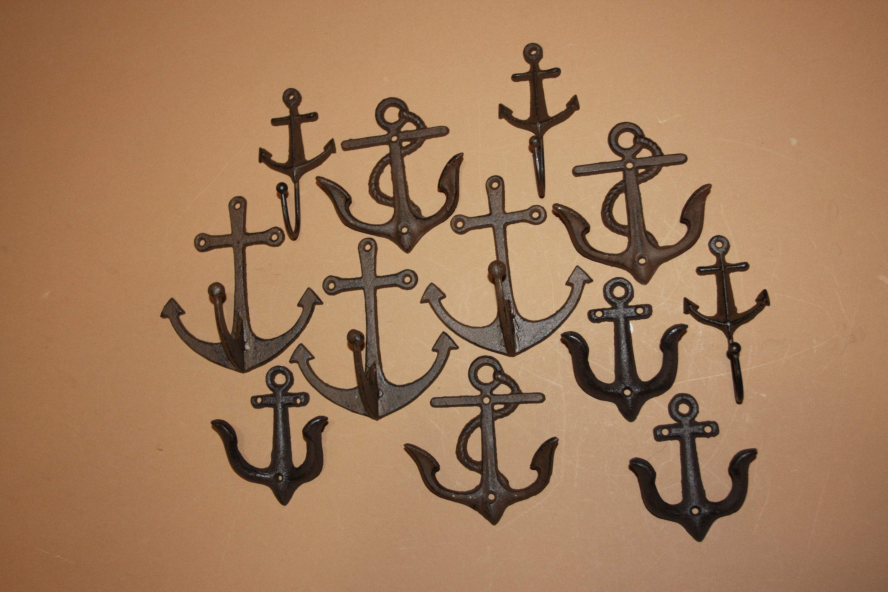 12) Anchor Stocking Stuffers, Cast Iron Wall Hooks, Volume Bulk Priced, Shipping Included