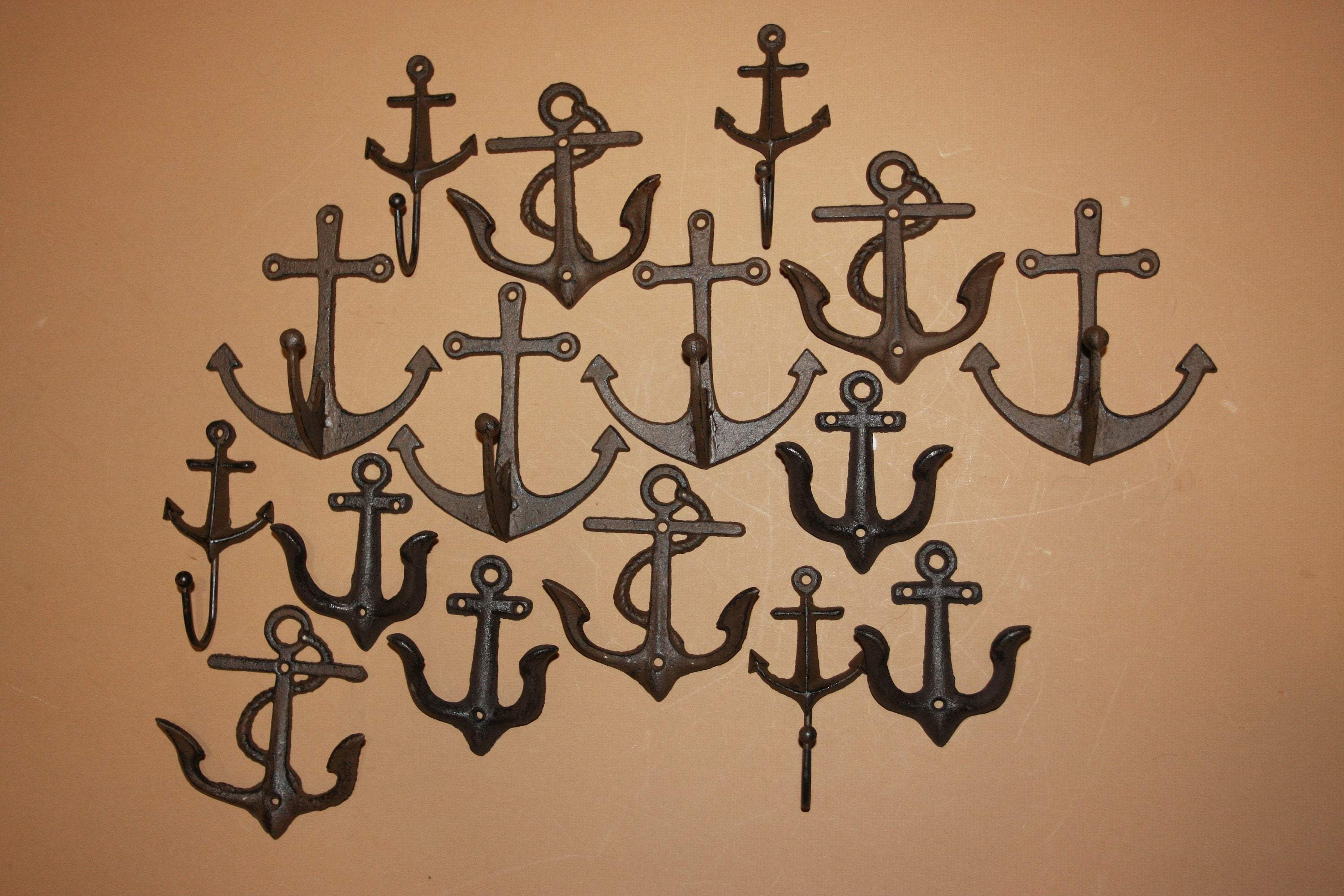 16) Anchor Stocking Stuffers, Cast Iron Wall Hooks, Volume Bulk Priced, Shipping Included
