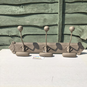 Three Double Hook Coat Rack in Mushroom Grey