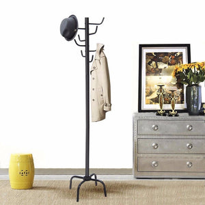 "70"" Metal Coat Hat Rack Standing Clothes Jacket Hanger Hall Tree Stand With 8 Hooks Modern Living"