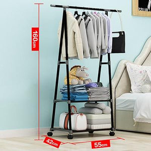 Actionclub Multifunction Triangle Simple Coat Rack Stainless Steel Removable Clothes Hanging Hanger Floor Stand Coat Rack Wheels