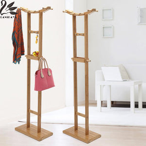 Real De Ropa Crescent Double Pole Bamboo Floor Standing Coat Rack