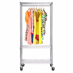 Heavy-duty Stainless Steel Rolling Garment Rack with Shelving