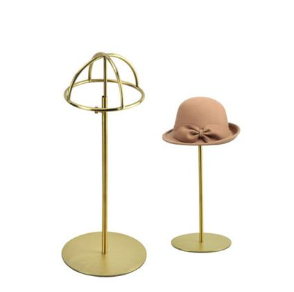 Free shipping Metal Hat display hat stand Gold hat display rack stainless steel hat holder cap display HH014-Brushed Gold