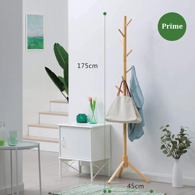 ALWAYSME Premium Wooden Coat Rack Free Standing With 8 Hooks Wood Tree Coat Rack Stand For Coats Hats Scarves Clothes Handbags