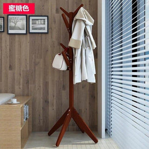 LK592 Solid Wood Hats Coat Rack Modern 8 Hooks Space-saving Clothes Shelf Multifunction Portable  Floor Tree Stand Storage Rack