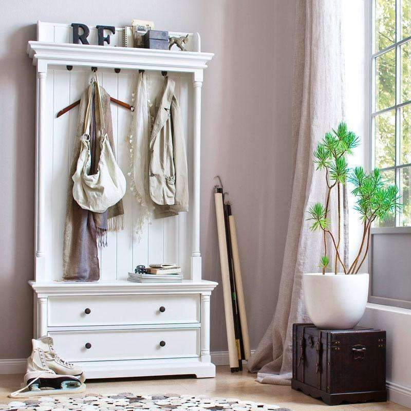 Provence White Painted Coat Rack Bench