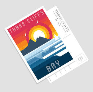Three Cliffs Bay (Modern & Minimalistic) A6 Postcard