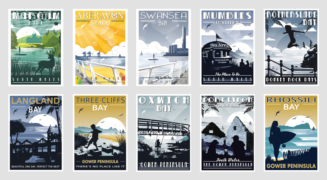 Gower Coastal Postcards ( Set of 10 ) Version 1